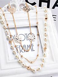 Korean Multi Pearl Rose Sweater Chain Cute Imitation Pearl Pendant Necklace
