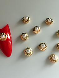 10PCS Roundness  Pearl Inlay 3D Alloy Nail Art Decoration