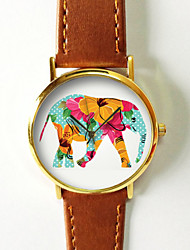 Elephant Watch  Leather Watch Women Watches Unisex Watch Boyfriend Watch Men'S Watch Floral Hibiscus Polka Teal Cool Watches Unique Watches