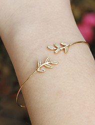 Women Fashion Simple Alloy Leaves Pattern Cuff Bracelet