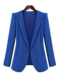 Women's Fall Blazer,Solid Long Sleeve Blue / Black Medium