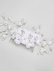 Women's / Flower Girl's Rhinestone / Crystal / Alloy / Imitation Pearl Headpiece-Wedding / Special Occasion Hair Combs 1 Piece Clear