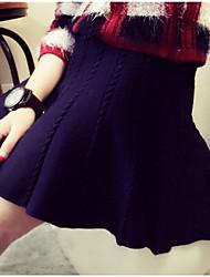Women's Solid Blue/Red/Black/Green/Gray Skirts , Cute Mini Ruffle