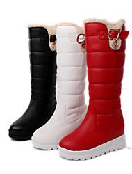 Zapatos de mujer - Plataforma - Botas de Nieve / Punta Redonda - Botas - Vestido - Semicuero - Negro / Rojo / Blanco