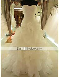 A-line Chapel Train Wedding Dress -Sweetheart Organza
