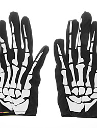 Adult Halloween Fancy Dress 3D Skeleton Bones Gloves - Black + White