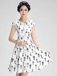 vestido das mulheres, acima de seda manga curta joelho