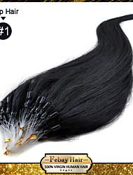 """22 """"negro azabache (# 1) 100s remy micro loop extensiones de cabello humano"""