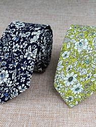 Gravatas ( Amarelo/Laranja/Azul Marinho , Algodão ) Estampado