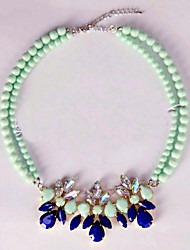 Small pure and fresh and candy color gem flower diamond necklace