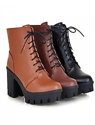 Calçados Femininos Courino Salto Grosso Trabalho & Segurança Botas Escritório & Trabalho/Casual Preto/Marrom/Cor da Pele