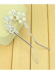 South Korean Hair Combs The Bride U-Shaped Clip Hairpin Of Comb Drill Two Flowers With Double Needle Twist