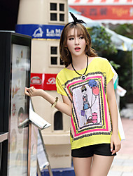 Women's Casual/Daily Simple Summer T-shirt,Print Short Sleeve Blue / Red / White / Yellow Others