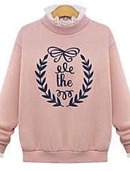 Qina Woman'S Lace Stitching Printed Cotton Sweater