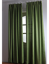 Two Panels Linen Cotton Solid Panel Curtains Drapes Green