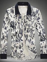 Men's Fashion Chinese Style Print Slim Long-Sleeve Shirt