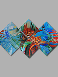 Hand-Painted Oil Painting on Canvas Wall Art Abstract Contempory Blue Green Four Panel Ready to Hang
