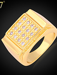 U7® Men's Rings With Luxury Cubic Zirconia Platinum/18K Real Gold Plated New Men Jewelry Gift Wedding Band Ring
