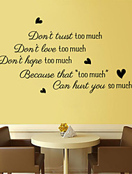 Wall Stickers Wall Decals Style Too Muche English Words & Quotes PVC Wall Stickers