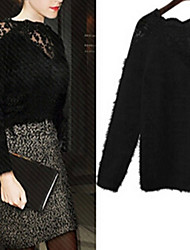 Qina Woman'S Trendy Stitching Lace Mohair Sweater
