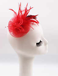 Handmade Small Netting Feather Brooch Fascinators Clip Headpiece  (more colors)