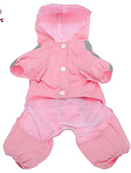 Cat Dog Rain Coat Red Pink Dog Clothes Summer Spring/Fall Solid Waterproof Windproof