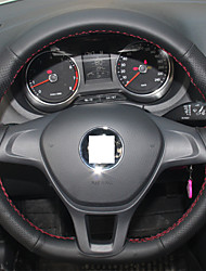 XuJi ™ Black Genuine Leather Steering Wheel Cover for Volkswagen VW Golf 7 Mk7 New Polo Sagitar