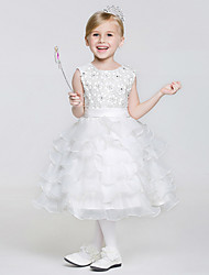 A-line Tea-length Flower Girl Dress - Lace / Tulle / Polyester Sleeveless Jewel with