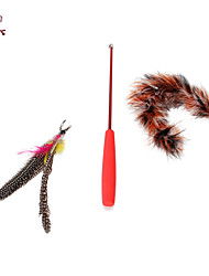 Cat / Dog Pet Toys Teaser / Feather Toy Stick Brown Plastic