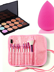 Pro 8pcs Makeup Brushes Set Foundation Eyeshadow Lip +15 Color Salon Concealer Contour Face Cream +Sponge Blender Puff