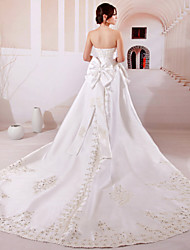 Ball Gown Wedding Dress - White Chapel Train Strapless Satin