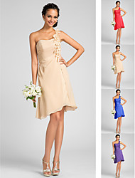 thuiskomen bruidsmeisje jurk knie lengte chiffon een lijn een schouder jurk met bloemen