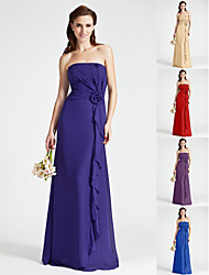 Floor-length Chiffon Bridesmaid Dress - Regency Plus Sizes Sheath/Column Strapless