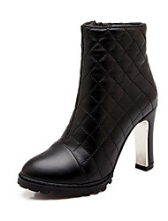 Calçados Femininos Courino Salto Grosso Arrendondado/Botas da Moda Botas Escritório & Trabalho/Social/Casual Preto/Branco