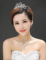 Women's Alloy Headpiece - Wedding/Special Occasion Tiaras 3 Pieces Including Tiara Earrings Necklace