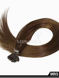 """20 """"6 # mittelbraun Menschenhaarverlängerungen shoelace i tip remy brasilianische Haarfarbe 0.8g / pc 100pcs"""