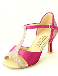 Customizable Women's Dance Shoes Satin Satin Latin / Salsa Sandals Customized Heel Practice / Beginner / IndoorBlack / Blue / Yellow /