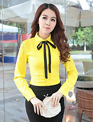 Women's Solid Red/White/Yellow Shirt , Shirt Collar Long Sleeve