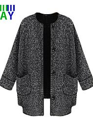 ZAY Women's Vintage Round Collar Long Sleeve Tweed Loose Coat