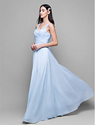 Lanting Bride® Ankle-length Chiffon / Lace Bridesmaid Dress - Sheath / Column V-neck with Lace / Criss Cross