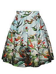 PinkQueen Women's Polyester/Spandex Bird Printed Retro Pleated Skirt