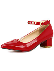 Women's Shoes Patent Leather Chunky Heel Heels/Comfort/Pointed Toe/Closed Toe Pumps/Heels Office/Dress Black/Red/White