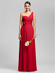Lanting Bride® Floor-length Chiffon Bridesmaid Dress - Sheath / Column One Shoulder / Sweetheart Plus Size / Petite withDraping /