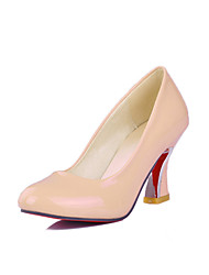 Women's Shoes Patent Leather Chunky /Round Toe Pumps/Heels Outdoor/Office & Career/Casual Black/Red/White/Beige
