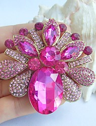2.56 Inch Gold-tone Pink Rhinestone Crystal Flower Brooch Pendant Art Decorations