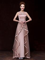 Formal Evening Dress - Champagne A-line Bateau Floor-length Satin