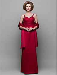 Sheath/Column Mother of the Bride Dress - Ruby Floor-length Sleeveless Satin