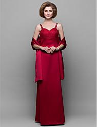 Brautmutterkleid - Rot Satin - Etui-Linie - bodenlang - Ärmellos