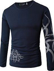 Men's Fashion Printed O Neck Long Sleeved Tattoo T-shirt