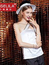 YIGELILA2015New Fashion Women Sexy Solid White One Shoulder Tops 7276